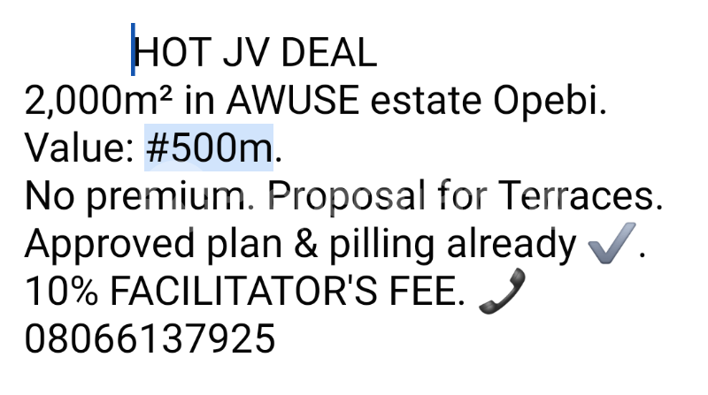 Joint   Venture Land for sale Awuse Estate Ikeja Lagos - 0