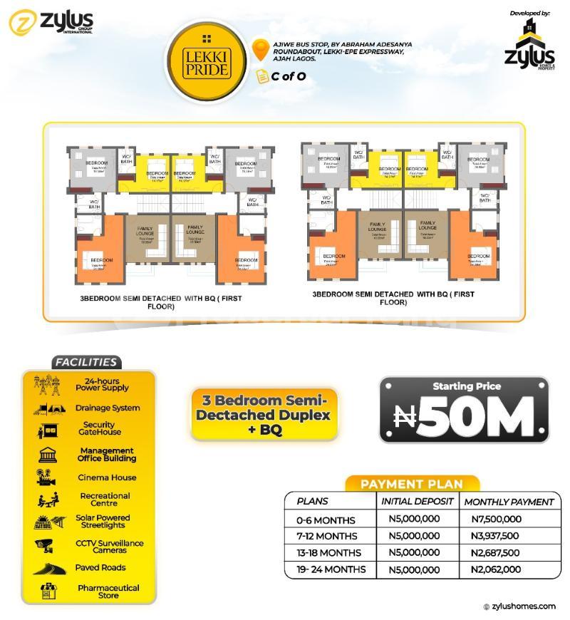 3 bedroom Semi Detached Duplex House for sale By Ajiwe Bus Stop Abraham adesanya estate Ajah Lagos - 0
