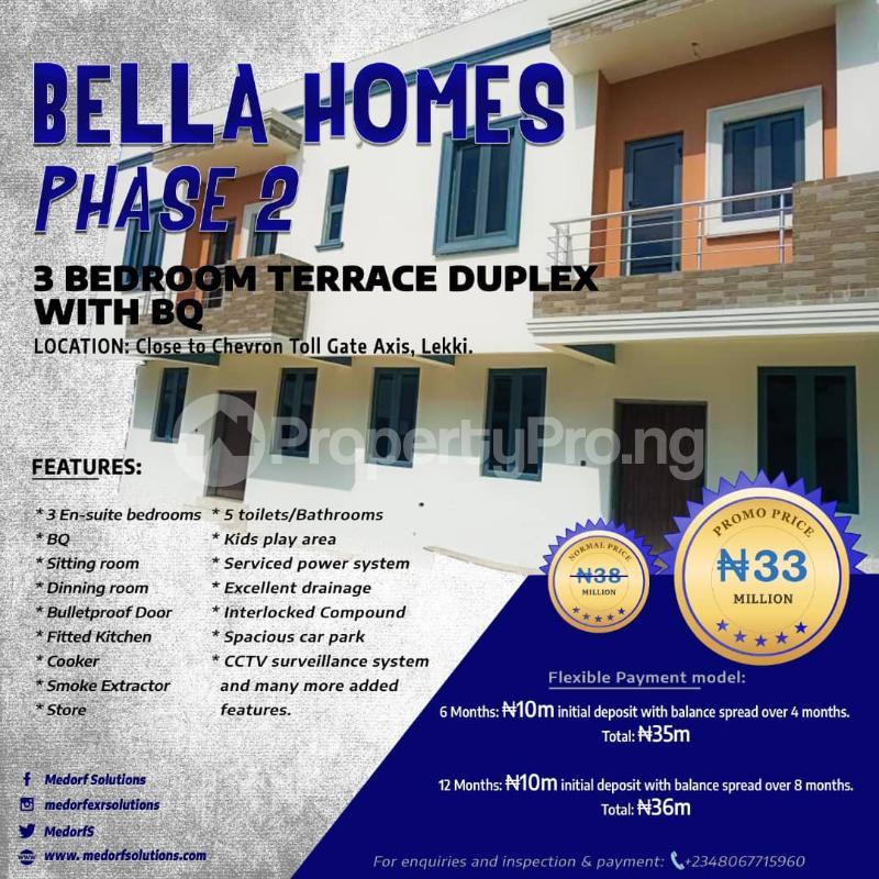 3 bedroom Terraced Duplex House for sale By Chevron Toll Gate, Bella Homes Igbo-efon Lekki Lagos - 1