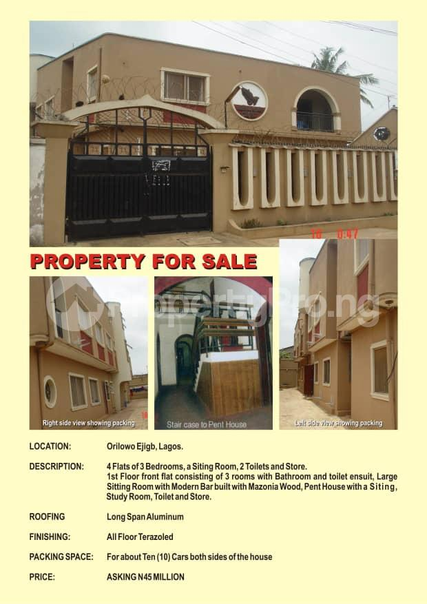 3 bedroom Blocks of Flats House for sale Orilowo ejigbo Lagos Orilowo Ejigbo Lagos - 0