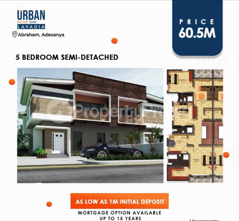 5 bedroom Semi Detached Duplex House for sale URBAN PRIME LAVADIA Abraham adesanya estate Ajah Lagos - 1
