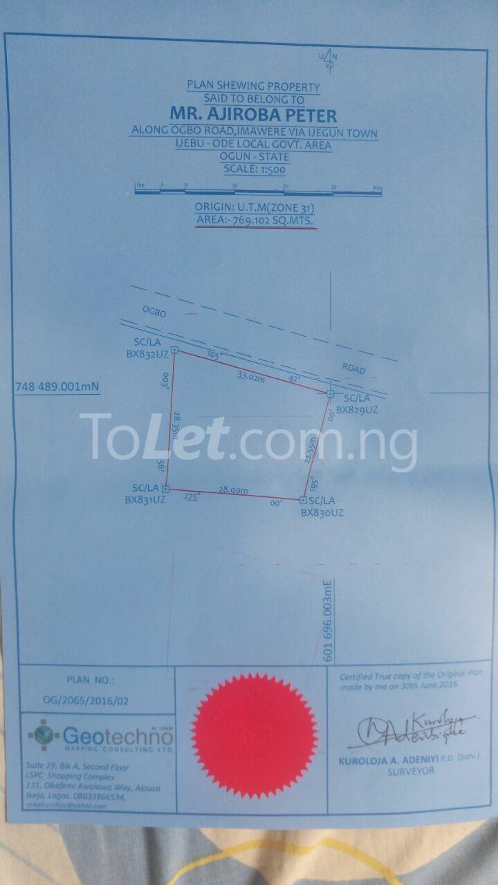 Land for sale Ijagun Alekunifesowapo Odogbolu Ogun - 0