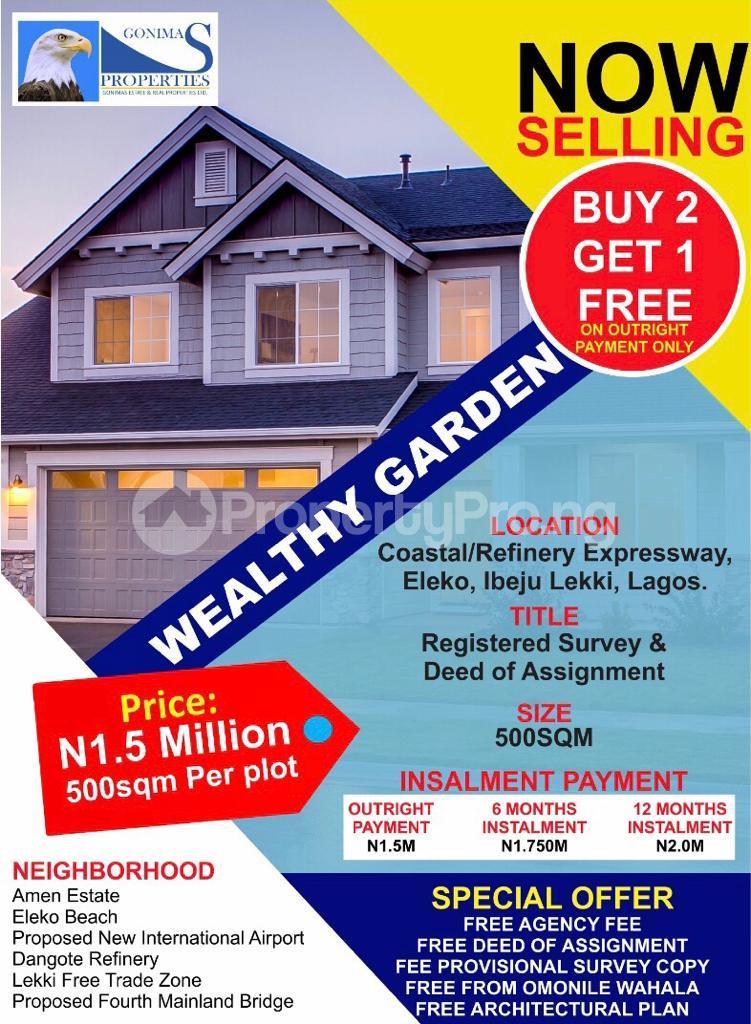 Serviced Residential Land Land for sale Along Coastal Road facing Eleko Beach  Eleko Ibeju-Lekki Lagos - 0