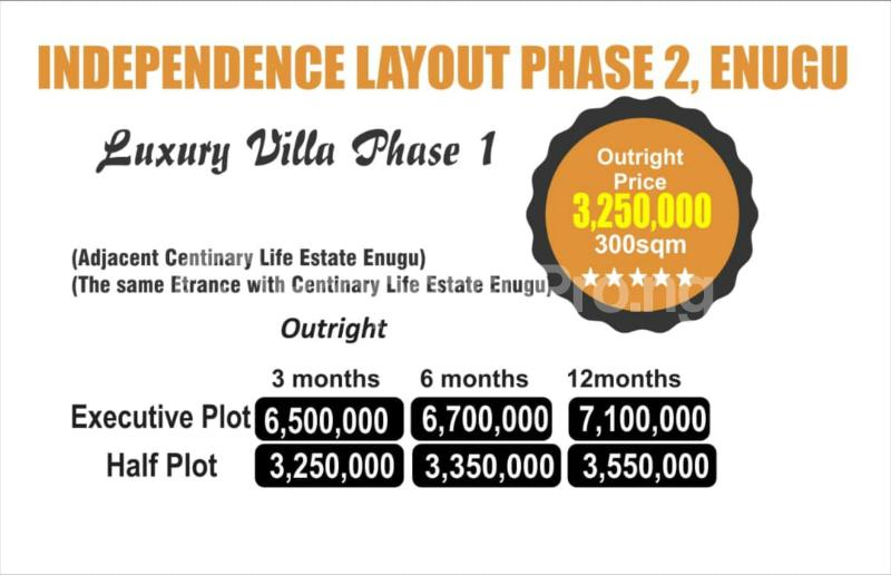 Residential Land Land for sale Independence layout phase 2 Enugu. Adjacent to Centinary life Estate Enugu(Abron home) Enugu Enugu - 0