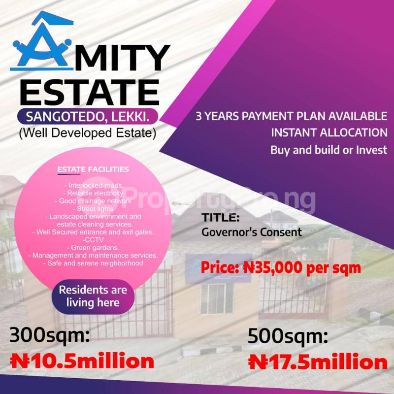 Serviced Residential Land Land for sale Amity Estate, 2Min Drive From Shoprite. Sangotedo Lagos - 0