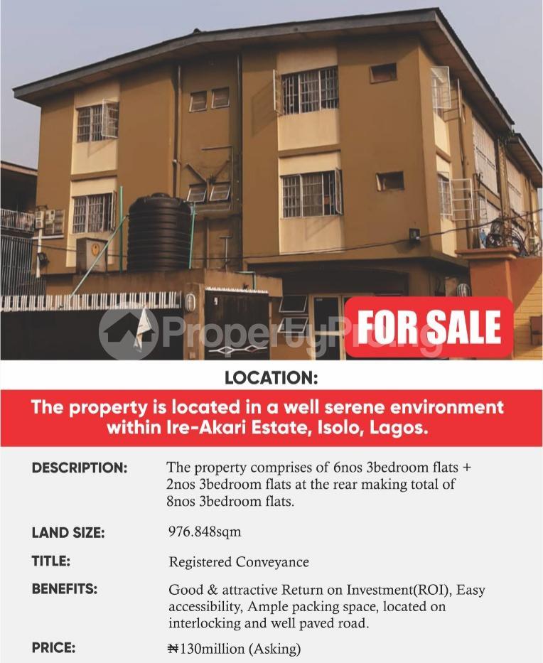 3 bedroom Blocks of Flats House for sale Abeokuta street ireakari estate Ire Akari Isolo Lagos - 0