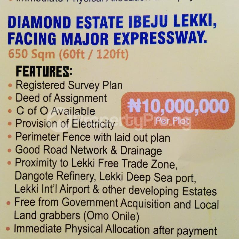 Commercial Land Land for sale Diamond Estate Ibeju Lekki Facing Major Expressway  Free Trade Zone Ibeju-Lekki Lagos - 0