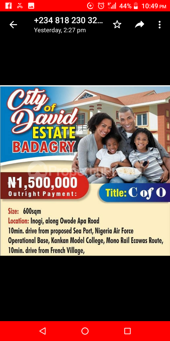 Serviced Residential Land Land for sale Inogi along Owode Apa road, 10 minutes drive from proposed seaport, Nigerian navy Badagry Badagry Lagos - 0