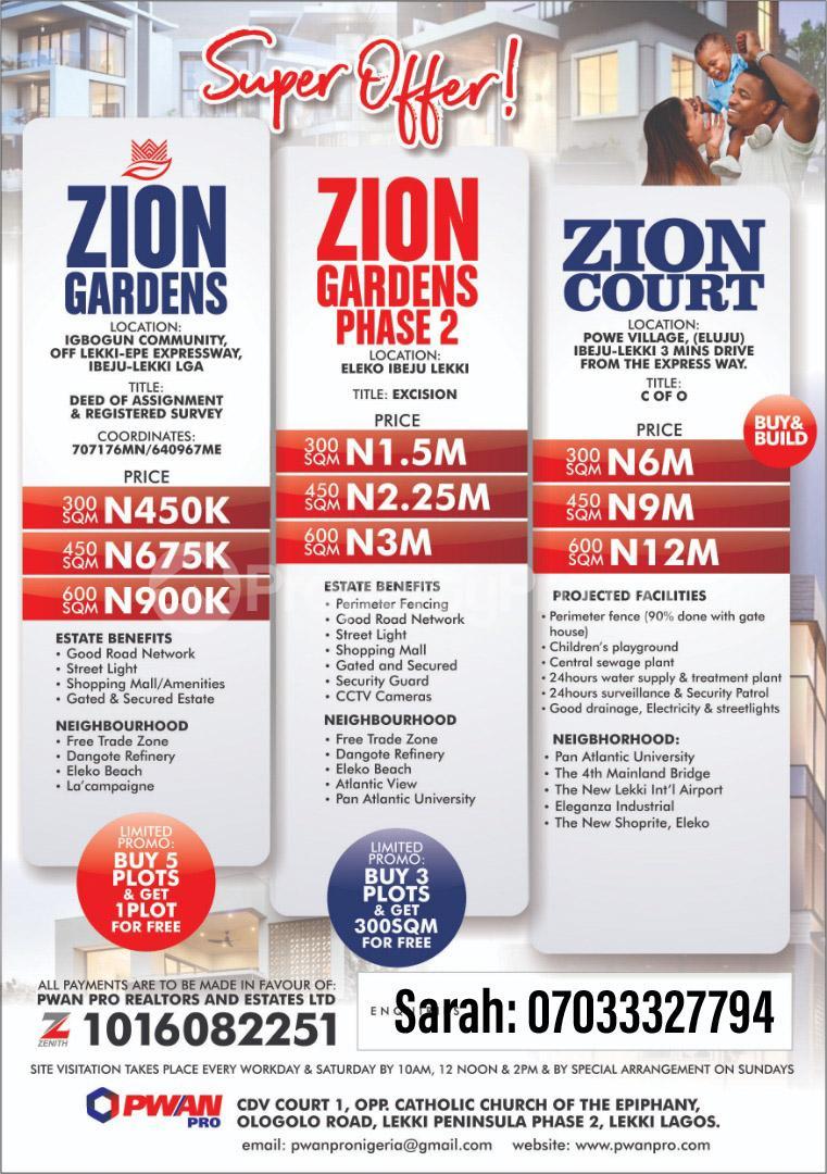 Land for sale Igbogun Community Free Trade Zone Off Epe Express Road. Ibeju Lekki. Free Trade Zone Ibeju-Lekki Lagos - 0