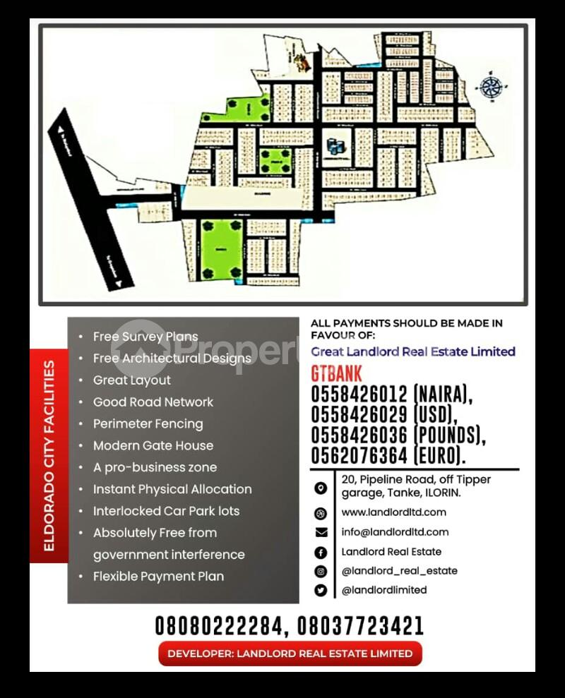 Land for sale ELDORADO ESTATE IS 500K FOR A PLOTS ALONG OLD JEBBA ROAD BESIDE AGAKA FILLING STATION Ilorin Kwara - 1