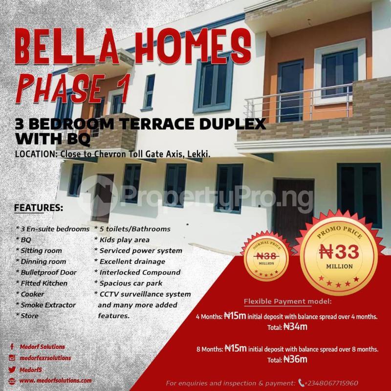 3 bedroom Terraced Duplex for sale Bella Homes Phase 1 Close To Chevron Toll Gate Axis chevron Lekki Lagos - 0