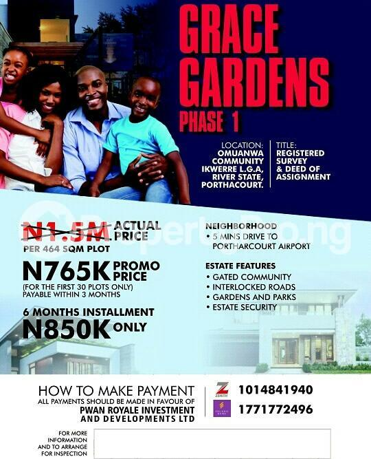 Mixed   Use Land Land for sale Grace Gardens is located midway between Isiokpo Junction and Ubima Town Ikwerre Rivers - 1