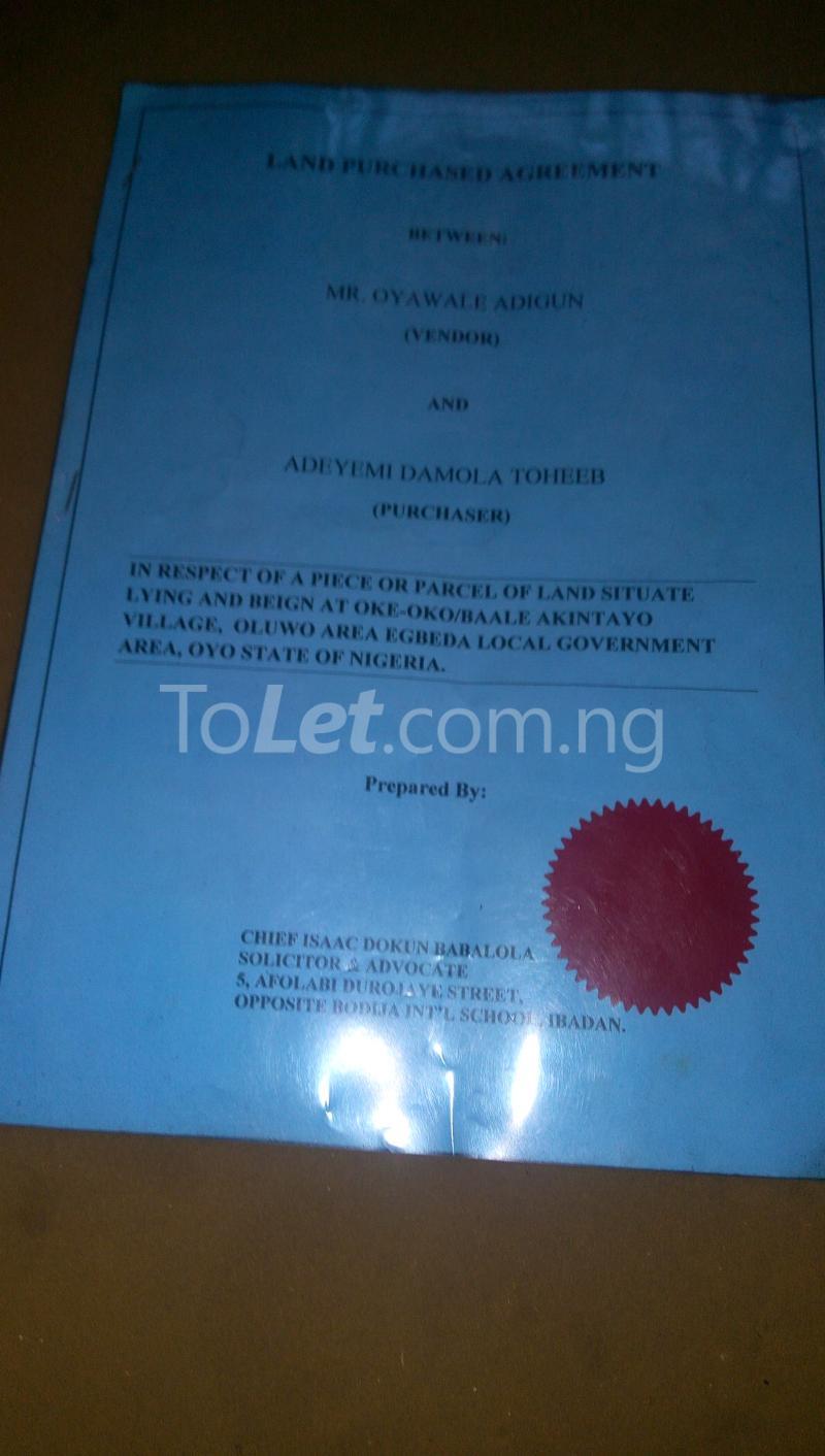 Land for sale oke oko baale  Egbeda Oyo - 0