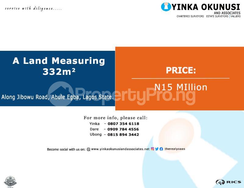 Land for sale Along Jibowu Road,  Abule Egba Abule Egba Lagos - 0