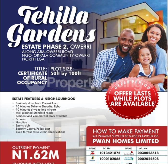 Residential Land for sale Tehilla Gardens Estate Phase 2 Along Aba Owerri Road Ngor Okpala Community Owerri North Ngor-Okpala Imo - 1
