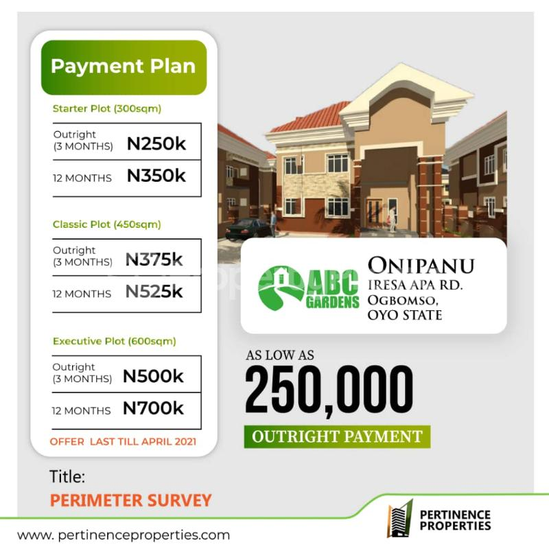 Serviced Residential Land for sale Abc Gardens Iresa Apa Road Very Affordable With Flexible Payment Plans Ogbomosho Oyo - 0