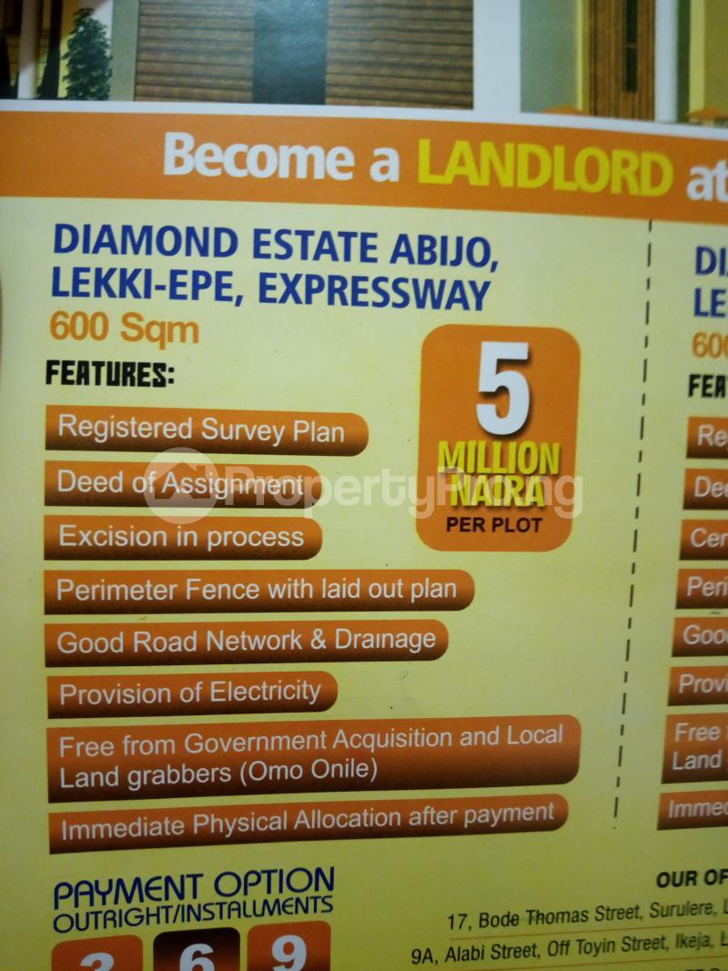 Serviced Residential Land for sale Diamond Estate Abijo Off Lekki Epe Expressway Abijo Ajah Lagos - 1