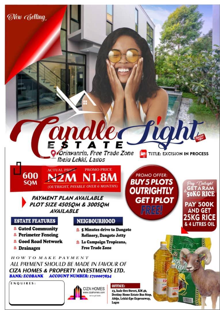Residential Land for sale Candle Light Estate Orinyanrin Free Trade Zone Ibeju-Lekki Lagos - 0