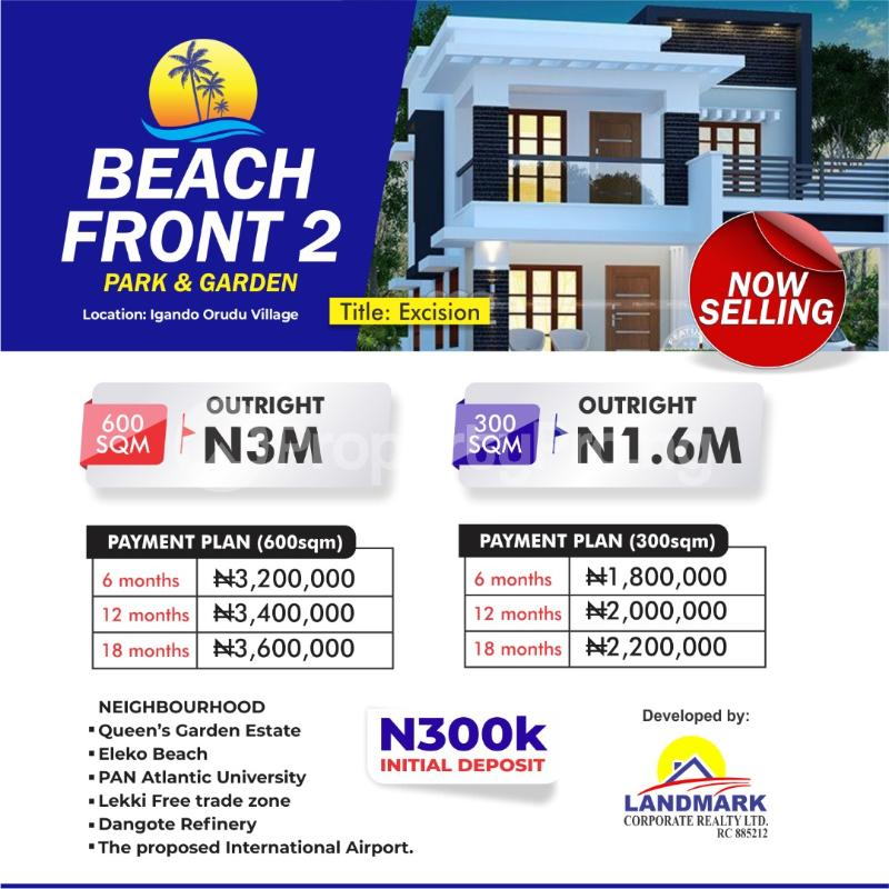 Residential Land for sale Beachfront 2 Park And Garden Igando Orudu Town Few Minutes From Eleko Beach. Ibeju-Lekki Lagos - 1