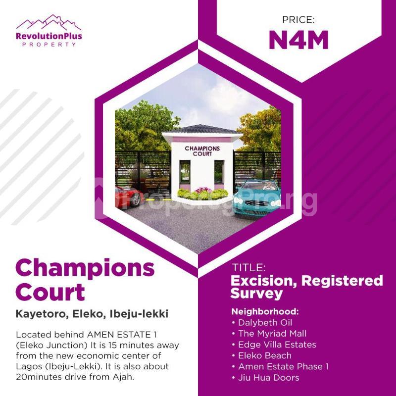Residential Land Land for sale Champions court kayetoro eleko ibeju lekki Ibeju-Lekki Lagos - 0