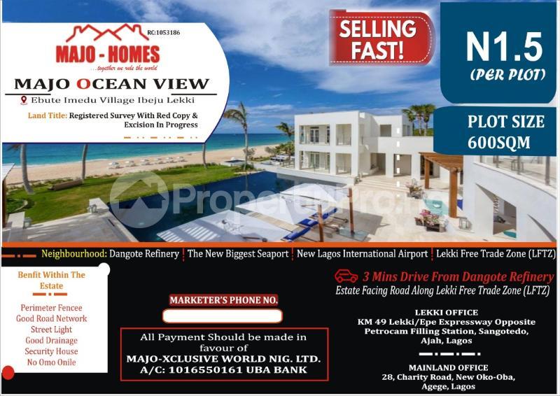 Mixed   Use Land for sale Majo Ocean View Estate Ebute Imedu Village Eleko Ibeju-Lekki Lagos - 0