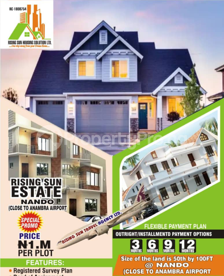 Residential Land for sale Rising Sun Estate In Nando Close To Anambra Airport Anambra East Anambra - 0