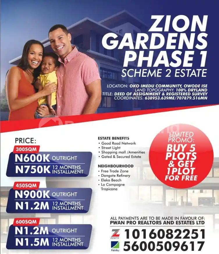 Mixed   Use Land for sale Land For Sale In Zion Gardens Phase 1 Estate Oko Imedu Community Owode Ise Ibeju Lekki Lagos LaCampaigne Tropicana Ibeju-Lekki Lagos - 0