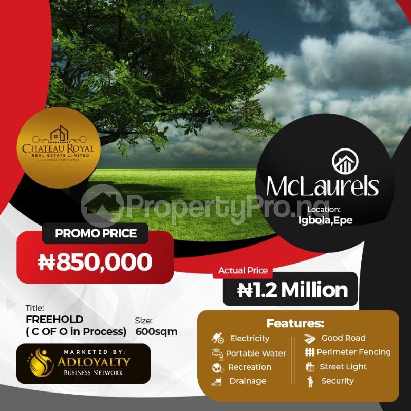 Residential Land for sale Igbonla Mclaurels, Epe Lagos - 0