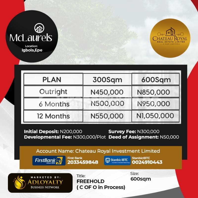 Residential Land for sale Igbonla Mclaurels, Epe Lagos - 1