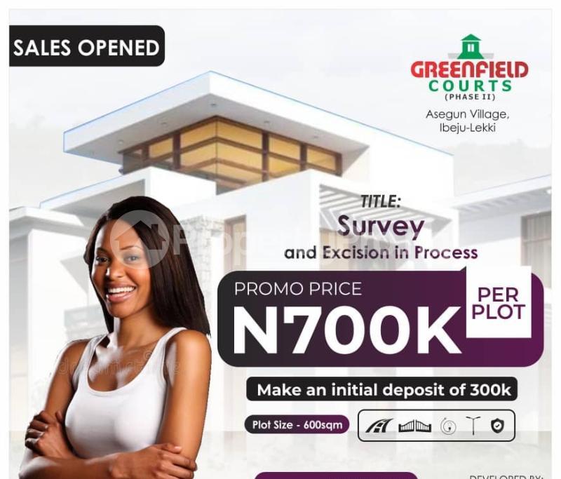 Residential Land Land for sale Greenfield Estate Phase2, Asegun Town Ibeju-Lekki Lagos - 0