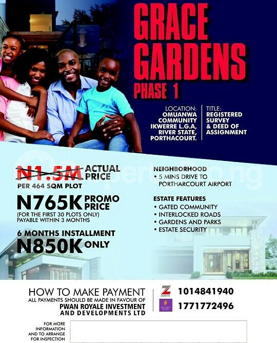 Residential Land Land for sale OMUANWA COMMUNITY, IKWERE L. G. A, RIVER STATE, PORTHARCOURT  Biase Cross River - 0