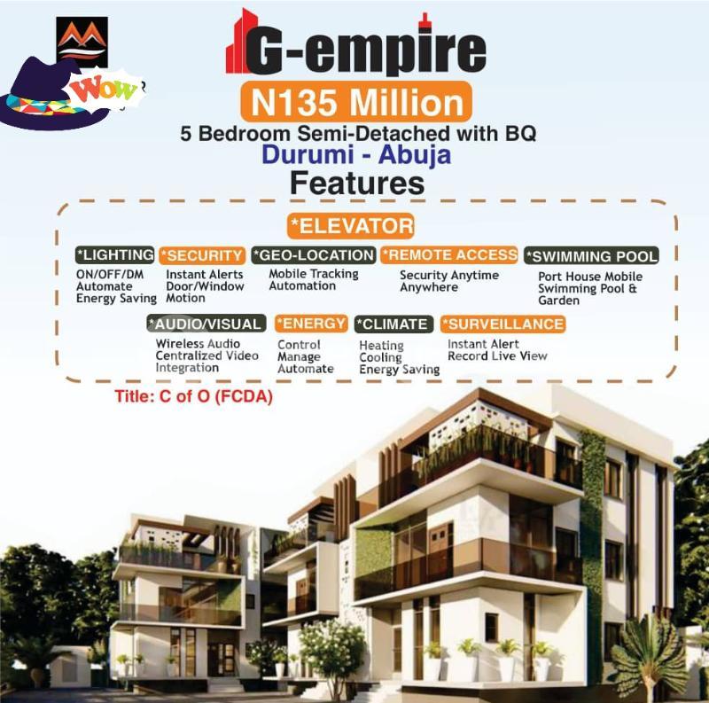 5 bedroom Semi Detached Duplex for sale G Empire Garden Durumi Abuja - 0