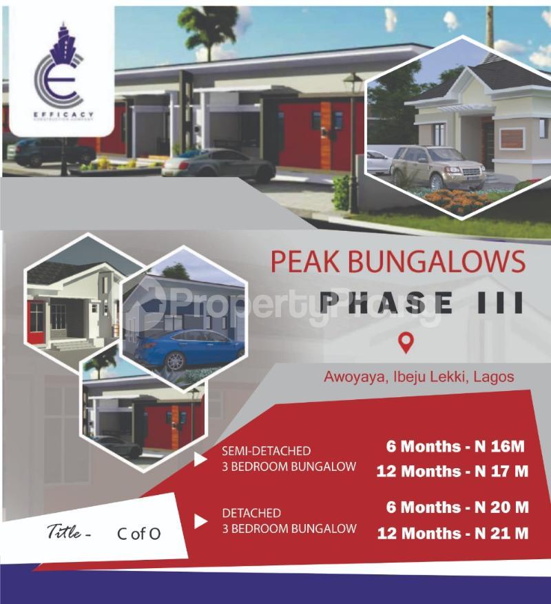 3 bedroom Semi Detached Bungalow for sale Just Behind Mayfair Garden Awoyaya Ajah Lagos - 0