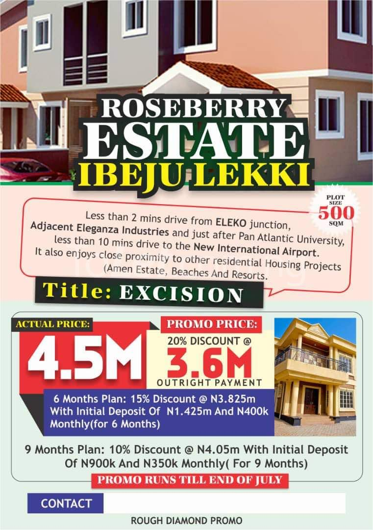 Land for sale Roseberry Estate Is Located In Eleko And It Is Less Than 2 Minutes Drive From Eleko Junction ,adjacent Eleganza Industries And Just After Pan Atlantic University ,less Than 10 Minutes Drive Before The New International Airport. Eleko Ibeju-Lekki Lagos - 0