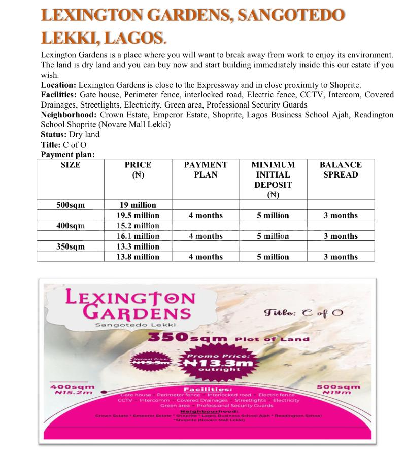 Residential Land for sale Lexington Garden Crown Estate Ajah Lagos - 0