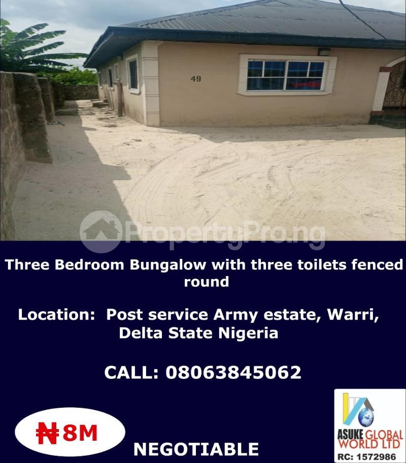 3 bedroom House for sale Post service Army estate Warri Delta state Nigeria Warri Delta - 1
