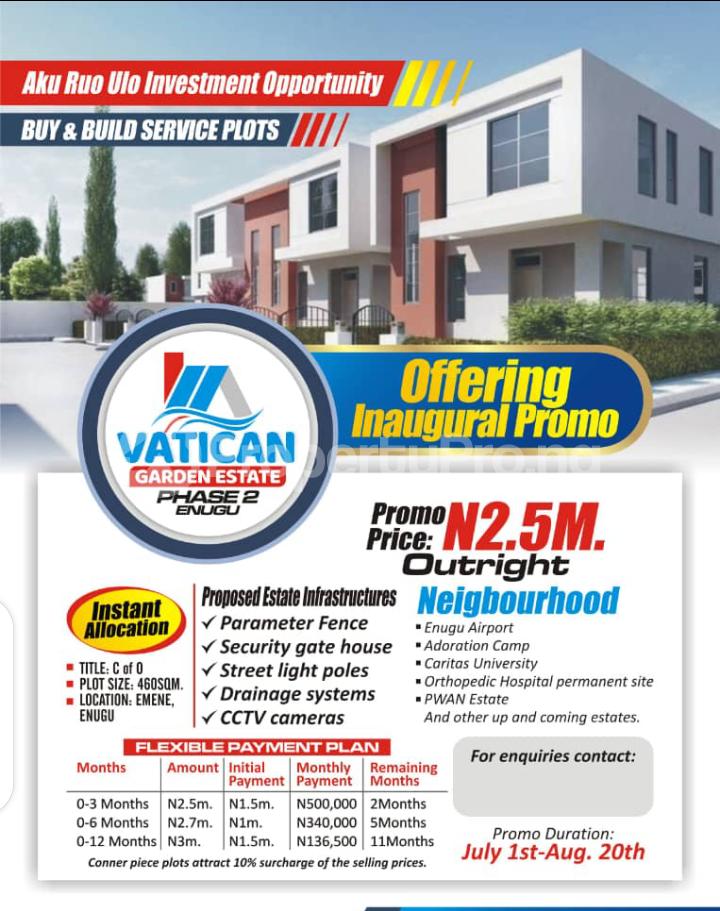 Residential Land for sale Ugwuomu, Emene, Enugu Besides Goodluck Jonathan Market Enugu Enugu - 0