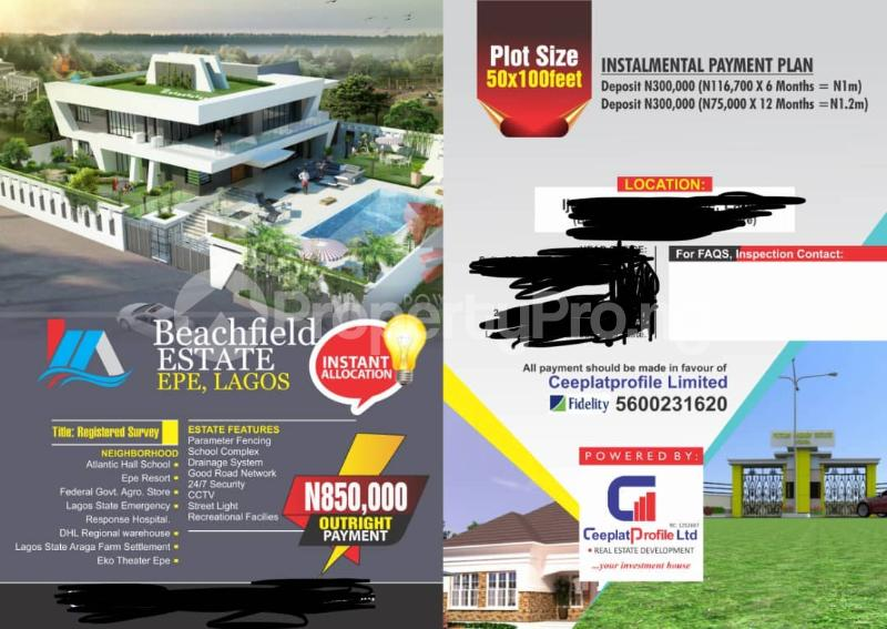 Land for sale Beach field  Epe Road Epe Lagos - 0