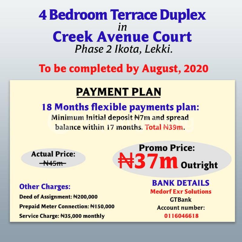 4 bedroom Terraced Duplex House for sale After the 2nd Toll gate, Between Chevron and VGC, Ikota, Lekki Phase 2,  Creek Avenue Court Ikota Lekki Lagos - 6