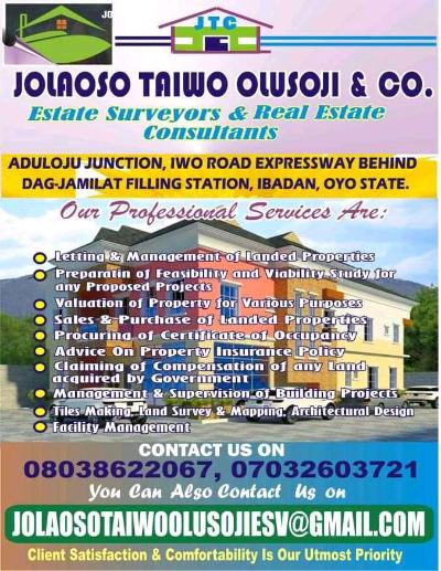 Jolaoso Taiwo Olusoji & Co Estate surveyors and real estate consultants