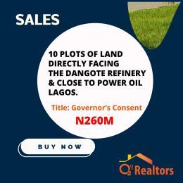 Commercial Land Land for sale Opposite Dangote Refinery beside Power oil ibeju Lekki Eleko Ibeju-Lekki Lagos