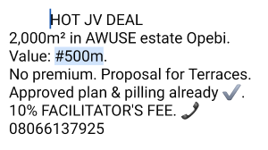 Joint   Venture Land for sale Awuse Estate Ikeja Lagos
