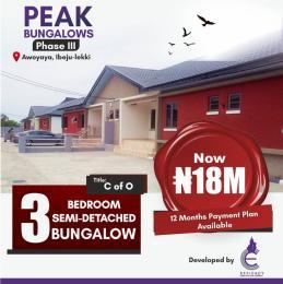 3 bedroom Semi Detached Bungalow for sale Peak Bungalows Phase 3, Behind Mayfair Gardens Awoyaya Ajah Lagos