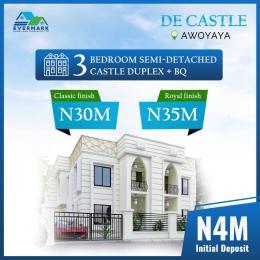 3 bedroom Semi Detached Duplex House for sale De Castle, Close To Mayfair Gardens Awoyaya Oribanwa Ibeju-Lekki Lagos
