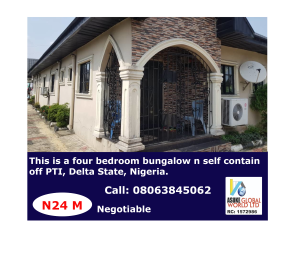 4 bedroom Detached Bungalow House for sale Pti Road, Warri Delta State. Warri Delta