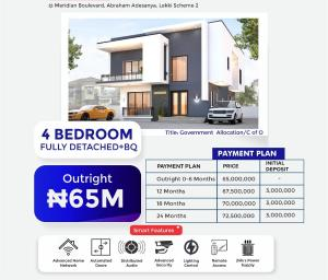 Detached Duplex House for sale Inside Meridian Boulevard Estate, Okun  Abraham adesanya estate Ajah Lagos