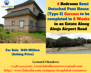 4 bedroom Semi Detached Duplex House for sale In an Estate along Abuja Airport Road Lugbe Abuja