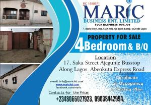 4 bedroom Detached Bungalow House for sale 1 baale ijeododo via ijegun/ikotun Iba Ojo Lagos