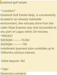 Land for sale Abijo Eastland Estate Majek Sangotedo Lagos