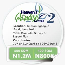 Residential Land Land for sale Imosan igbogun Road Ibeju  Ibeju-Lekki Lagos